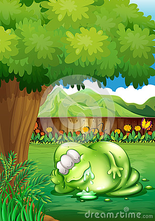 Free A Fat Monster Sleeping Under The Tree At The Yard Stock Images - 35321534