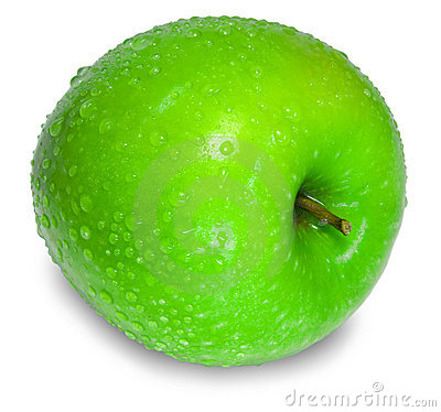 Free A Fresh Green Apple With Water Drops Over White Stock Image - 5238501