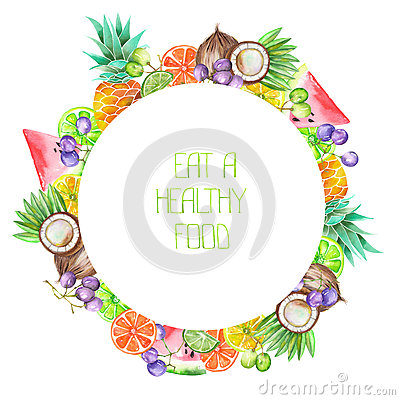 Free A Fruit Circle Frame Of The Watercolor Fruits: Grapes, Pineapple, Coconut, Lemon, Lime, Citrus And Other Stock Photos - 65565013