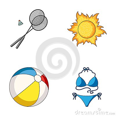 Free A Game Of Badminton, A Ball And The Sun.Summer Vacation Set Collection Icons In Cartoon Style Vector Symbol Stock Stock Photos - 94340483