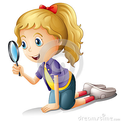 Free A Girl And A Magnifier Stock Photos - 28427553