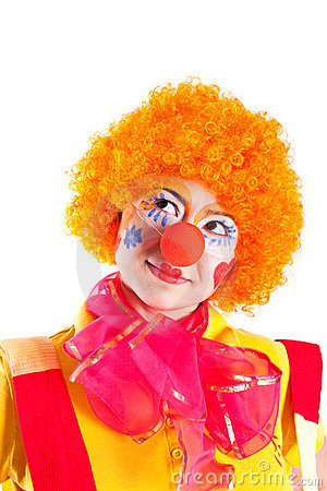 Free A Girl Dressed As A Clown Is Looking Up Stock Image - 18969721