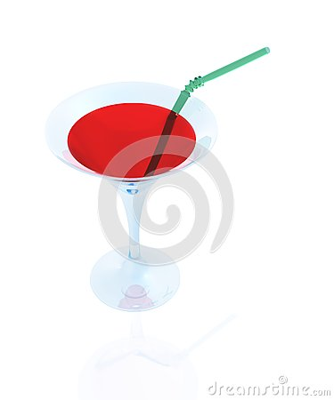Free A Glass Of Red And A Straw Stock Photo - 25415830