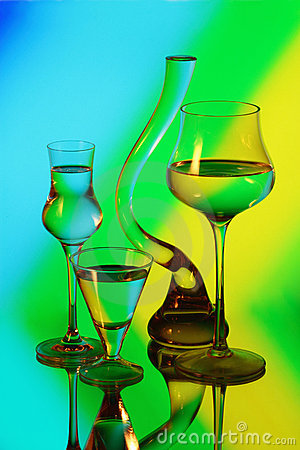 Free A Glass Vase And Three Wineglasses Royalty Free Stock Photo - 21824095