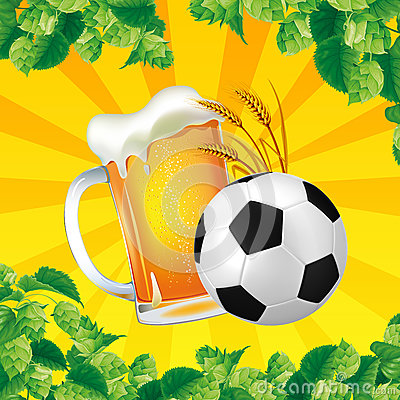 Free A Good Glass Of Beer With Soccer Ball On A Bright Background Stock Photo - 91669930