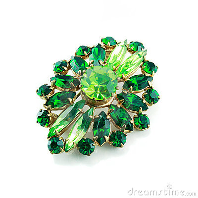 Free A Green Brooch Isolated Royalty Free Stock Images - 9084199