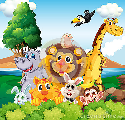 Free A Group Of Animals Near The River Royalty Free Stock Photo - 40254265