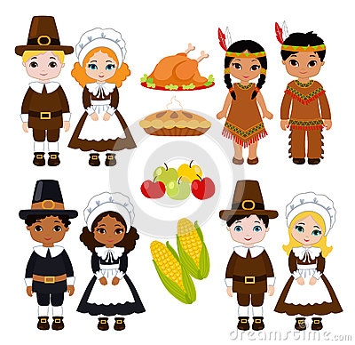 Free A Group Of Kids - Indians And Pilgrims - Sharing Food For Thanksgiving Royalty Free Stock Photos - 73341298