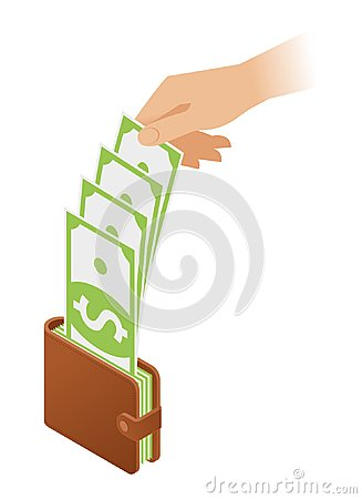 Free A Hand Take Banknotes Out Of A Wallet With Money. Stock Images - 124026894