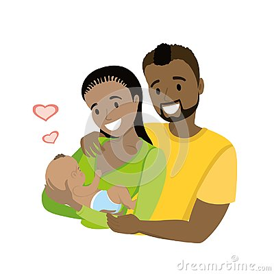 Free A Happy African American Married Couple With A Newborn Baby, Stock Image - 117813591