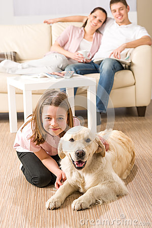 Free A Happy Family With Dog Royalty Free Stock Photos - 31443168