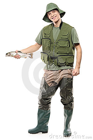Free A Happy Fisherman Holding A Fish In His Hand Stock Images - 13964034