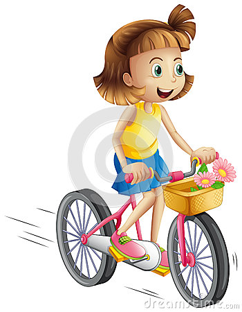 Free A Happy Girl Riding A Bike Stock Images - 41504124