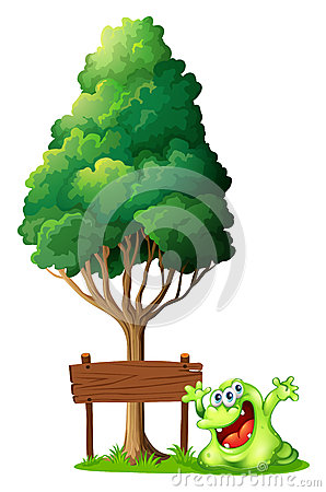 Free A Happy Green Monster Beside The Empty Wooden Signage Under The Royalty Free Stock Photo - 34134205