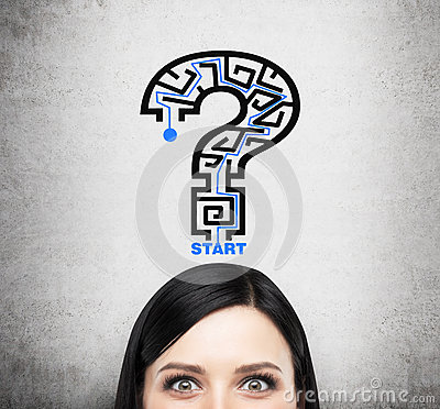Free A Head Of Brunette Lady Who Is Thinking About Problem Solving. A Question Mark As A Maze. Royalty Free Stock Images - 57697329