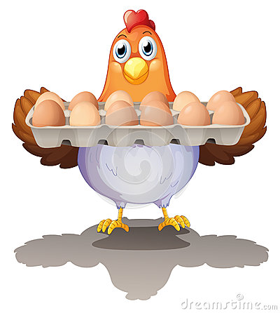 Free A Hen Holding A Tray Of Eggs Stock Photo - 33098990