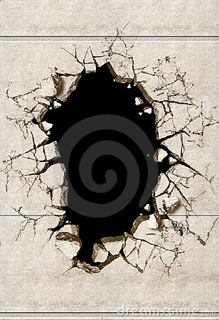 Free A Hole In A Mortar Wall Stock Photo - 1688100