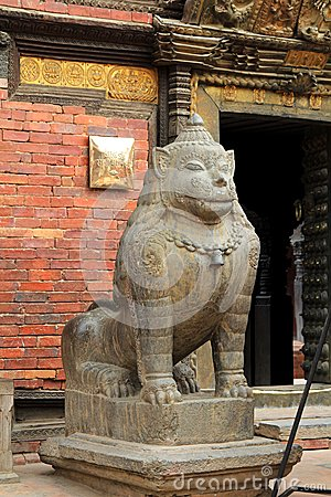 Free A Huge Stone Lion Guarding Patan Museum In Patan, Nepal Stock Photography - 49455152