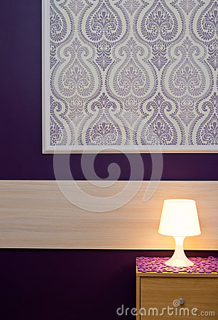 Free A Lamp With Violet Wallpaper Royalty Free Stock Photography - 31669887