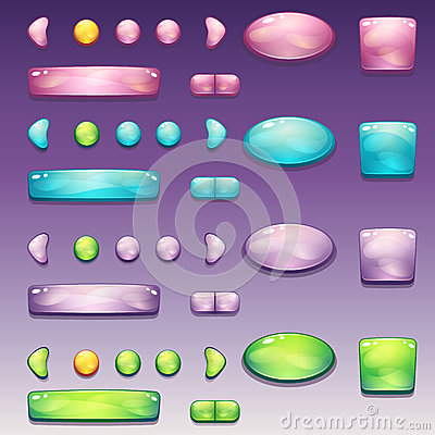 Free A Large Set Of Glamorous Buttons Of Different Shapes For The User Interface And Web Design Royalty Free Stock Images - 54291599