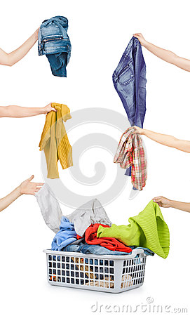Free A Laundry Basket Full Of Dirty Clothes Ready To Be Washed During Stock Image - 56799981