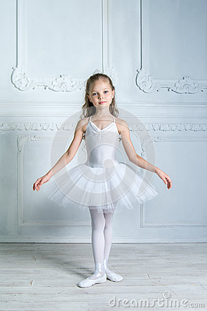 Free A Little Adorable Young Ballerina In A Playful Mood In The Inter Stock Photography - 58610082