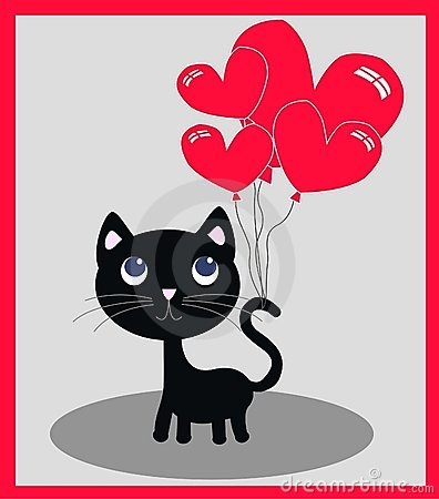 Free A Little Black Cat With Balloons Stock Images - 17928114
