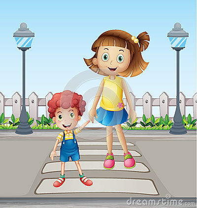 Free A Little Child And A Girl Crossing The Pedestrian Royalty Free Stock Photos - 30055908