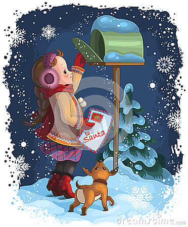 Free A Little Girl Posting A Letter To Santa Royalty Free Stock Images - 26550989