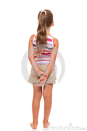Free A Little Girl Stands Back, Holding Her Hands Behind Her Back Stock Photos - 34414743