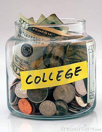 Free A Lot Of Money In A Glass Jar Labeled College Stock Photo - 11071690