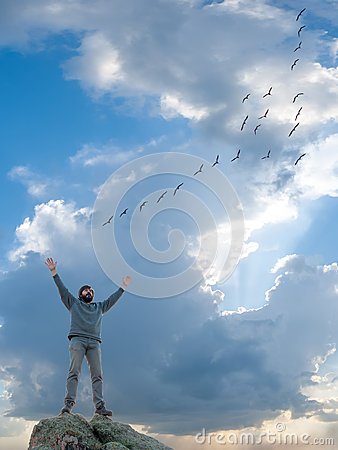 Free A Man And Flight Of Flying Birds Stock Images - 29548394
