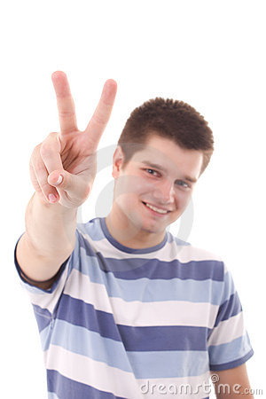 Free A Man Pointing A Victory Stock Photography - 20236932