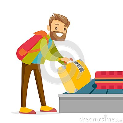 Free A Man Taking His Case In Baggage Claim Of The Airport. Stock Photography - 116139062