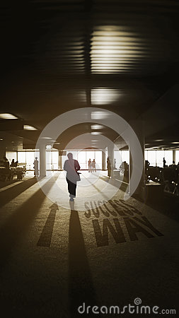 Free A Man Walking Into The Light,light And Shadow,dark Edges,light Of Life Concept,shadow Text Success Way And Arrow,fight For Better. Stock Images - 77216144