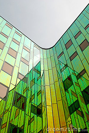 Free A Modern Office-building, Equipped With Coloured Reflecting Wall Royalty Free Stock Image - 1366886