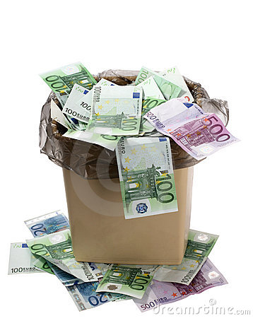 Free A Money Is In A Trash Bucket. Stock Images - 4156224