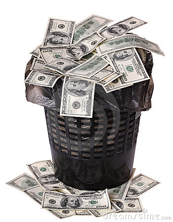 Free A Money Is In A Trash Bucket. Stock Photography - 7300152
