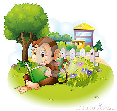Free A Monkey Reading A Book Near The Plants With Flowers Stock Photography - 32521772