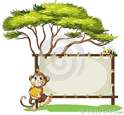 Free A Monkey With A Banana Near The Empty Signage Royalty Free Stock Photo - 31676065