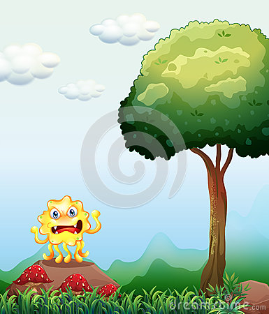 Free A Monster Above The Rock Near The Tree Royalty Free Stock Photo - 38185005
