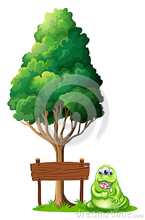 Free A Monster Beside The Empty Wooden Signboard Under The Tree Royalty Free Stock Image - 34134226