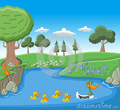 Free A Mother Duck Swimming With Her Ducklings Royalty Free Stock Photos - 26511518