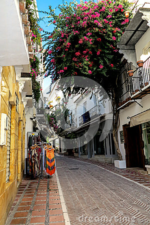 Free A Narrow Alley In Old Town Of Marbella, Spain Royalty Free Stock Images - 38126479