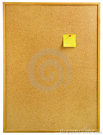 Free A Notice Board With A Yellow Note. Royalty Free Stock Photography - 6984127