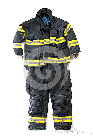 Free A Pair Of Firefighter Pants And Suit On White Background Stock Photography - 45504222