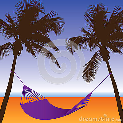 Free A Palm Tree And Hammock Beach Scene Stock Image - 51847121