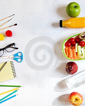 Free A Pile Of Various Stationery On Table, Notepad, Colored Pencils, Ruler, Marker, Planer, Space For Text. Delicious School Lunch Box Royalty Free Stock Photography - 116158777