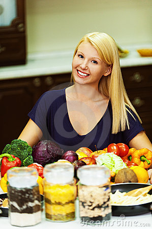 Free A Portrait Of Blonde At Kitchen Stock Photo - 22188940