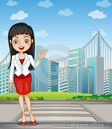 Free A Pretty Woman Presenting The Tall Buildings Royalty Free Stock Photography - 34133917
